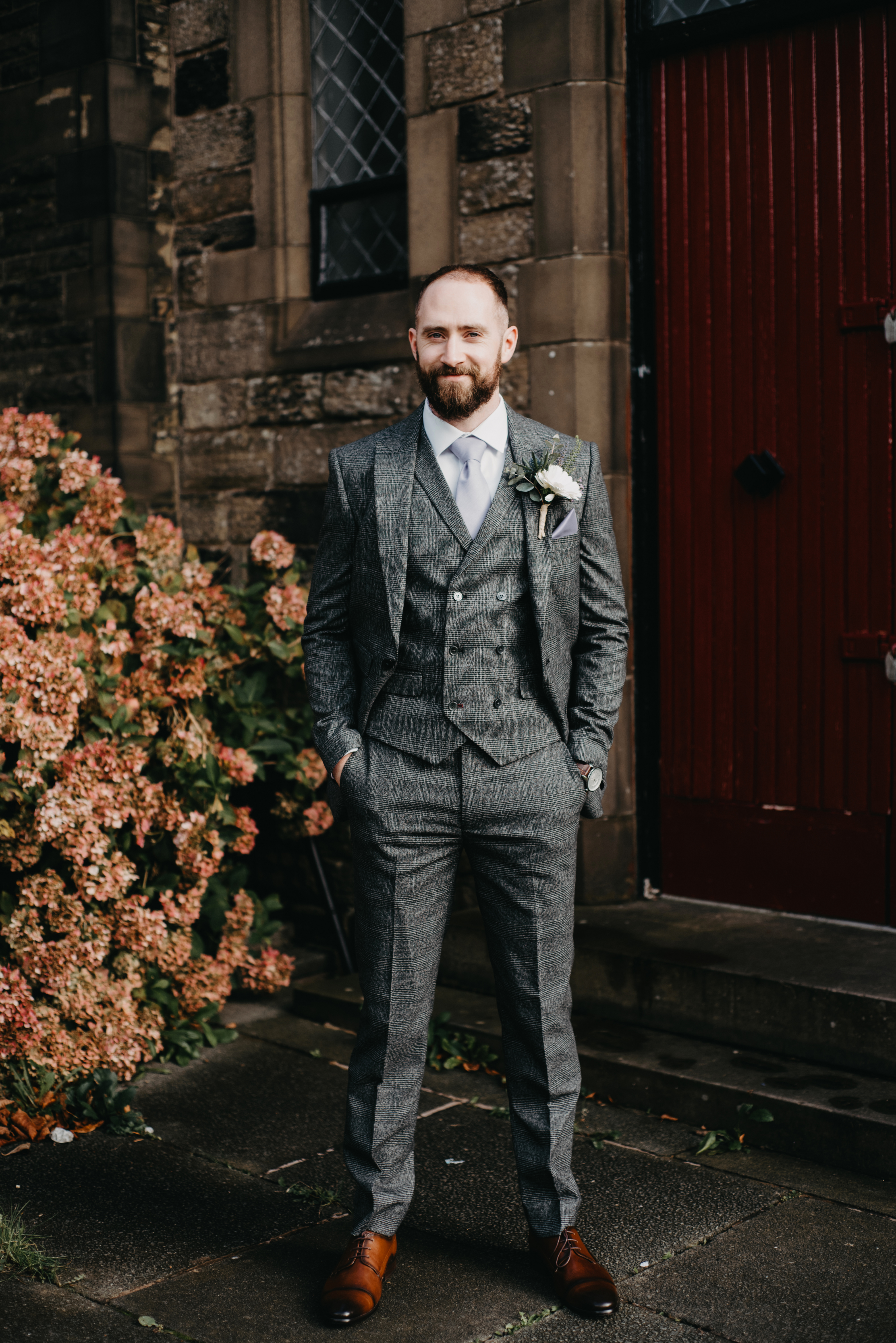 A groom all dressed up for his wedding